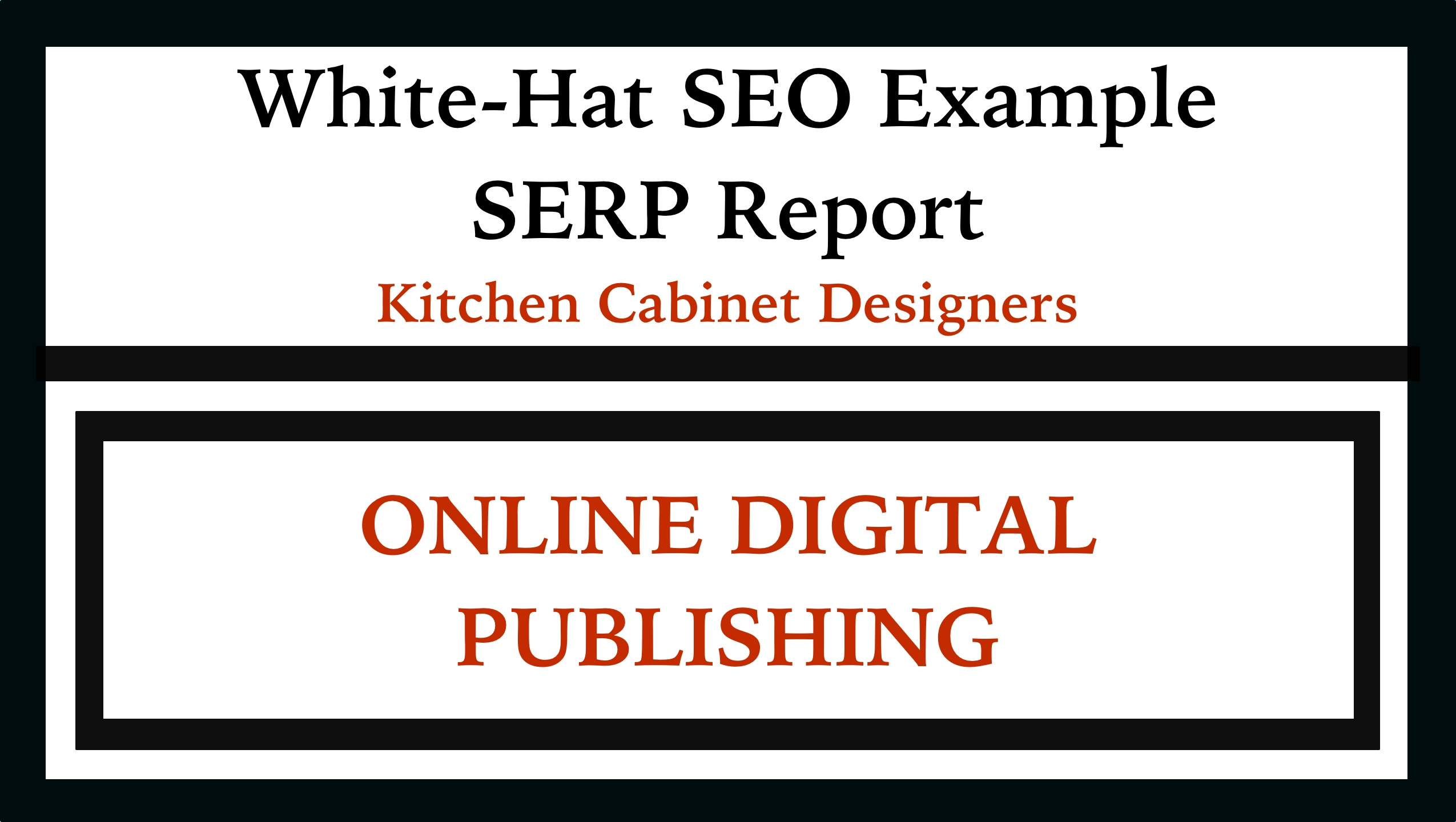 How to SEO White Hat with SERPS ex Cabinet Makers. This SERP, or search engine results page, example shows you exactly what can be gained from doing legal, or white-hat SEO. This example shows clearly how a local Charlottesville Custom Kitchen and cabinetry design shop can benefit from great online digital publishing through white-hat SEO techniques. The proof is clearly on Google's front page search engine results.